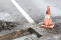 Pothole repairing works Royalty Free Stock Photo