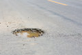 Pothole on the road Royalty Free Stock Photo