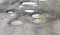Potholes filled by water Royalty Free Stock Photo