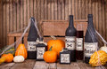 Potion bottles with pumpkins Royalty Free Stock Photo