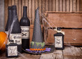 Potion bottles with witched hat Royalty Free Stock Photo