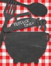 Potluck invitation on tablecloth with chalkboard features