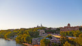 Potomac riverbank with the view of Georgetown University in US capital. Royalty Free Stock Photo