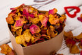 Potpourri and chestnuts in box. Royalty Free Stock Photo