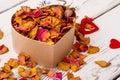 Potpourri and chestnuts near hearts. Royalty Free Stock Photo