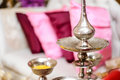 Potpourri silver bowls and fragrance pot for containing fragrant for use in malay wedding ceremony Stock Photo