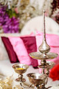 Potpourri silver bowls and fragrance pot for containing fragrant for use in malay wedding ceremony Stock Images