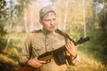 Potrait Of Tired Re-enactor Dressed As Russian Soviet Infantry S Royalty Free Stock Photo