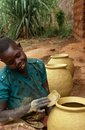 Pots being made in Burundi. Royalty Free Stock Images