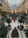 Potsdamer Platz Arkaden Shopping Mall in Christmas Decoration with huge Christmas Tree, Garlands and Lights