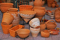Pottery ​​of clay big street bazaar sale Stock Image