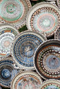 Pottery art colored plates Royalty Free Stock Photos