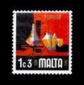Pottery, Aspects of Malta serie, circa 1973 Royalty Free Stock Photo