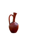 Pottery bottle vintage of clay with a handle of brown color on a white background Royalty Free Stock Photos