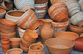 Pottery clay big street bazaar sale Royalty Free Stock Photos