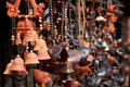 Pottery and different ceramic handicrafts in the market Royalty Free Stock Photo