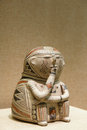 Pottery figurine the close up of the north american ancient indian Stock Photos
