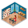 Pottery Isometric Workspace Composition