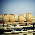 Pottery market image of being sold at crete greece Stock Photography