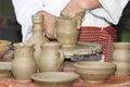 Pottery potter shaping clay on the wheel Royalty Free Stock Images