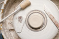 Pottery wheel in the studio making ceramic products Royalty Free Stock Photo