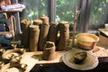 Pottery workshop traditional in romania pieces of clay ready to be molded to worktable Royalty Free Stock Photography