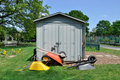 Potting shed and wheelbarrows Royalty Free Stock Photos