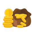 Pouch or sack full of money with falling gold coins. Vector icon