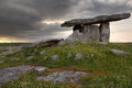 Poulnabrone dolmen in cloudy sunset light clare county ireland Stock Images