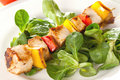 Poultry skewer with salad Stock Image