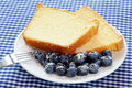 Pound Cake and Blueberries Stock Photography