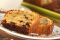 Pound cake fresh homemade slices of filled with chocolate pieces selective focus focus on front edge of the slice Royalty Free Stock Photography