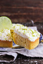Pound cake with lemon, lime and freshly shredded coconut Royalty Free Stock Photo