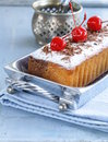 Pound cake with sugar and berries powdered Stock Photos
