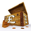 Pound chest of coins shows british prosperity showing and economy Royalty Free Stock Photos