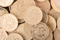 Pound coins background of close up Royalty Free Stock Images