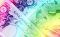 Pound currency background pounds rainbow close up Royalty Free Stock Images