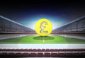 Pound golden coin in midfield of magic football stadium Royalty Free Stock Photo