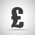 Pound icon with shadow on a gray background. Vector illustration