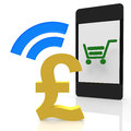 Pound payment with a mobile device Stock Photography