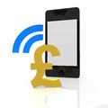 Pound payment with a mobile device Royalty Free Stock Photography