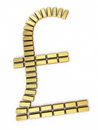Pound sign gold bars d render on white and clipping path Royalty Free Stock Photography