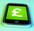 Pound Sign On Phone Shows British Money Gbp Royalty Free Stock Photos