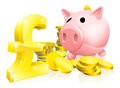 Pound sign piggy bank illustration of a pink with lots of gold coins and a big or symbol Royalty Free Stock Images
