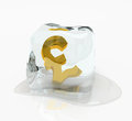 Pound sterling in the ice cube Royalty Free Stock Image