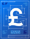 Pound sterling sign like blueprint drawing stylized of money symbol on paper qualitative vector eps illustration for banking Stock Photo