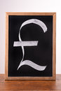 Pound sterling sign written with a chalk on blackboard Stock Photos