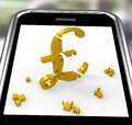 Pound Symbol On Smartphone Shows Britain Currency Stock Photos