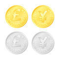 Pound and yen coins gold silver colored of an british gbp japanese jpy currency Royalty Free Stock Image