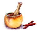 Pounder pestle watercolor illustration Royalty Free Stock Photos